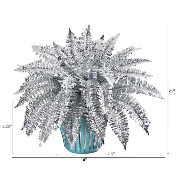 21 Metallic Silver Boston Fern Artificial Plant in Turquoise Planter with Silver Trimming - SKU #P1082 - 1