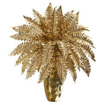 19 Golden Boston Fern Artificial Plant in Gold Planter - SKU #P1083