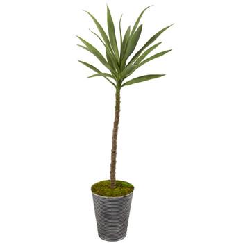 51 Yucca Artificial Plant in Decorative Tin Planter - SKU #P1089