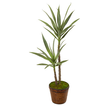 4 Double Yucca Artificial Plant in Planter - SKU #P1090