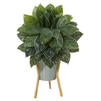 25 Silver Aglaonema Artificial Plant in Green Planter with Stand Real Touch - SKU #P1091