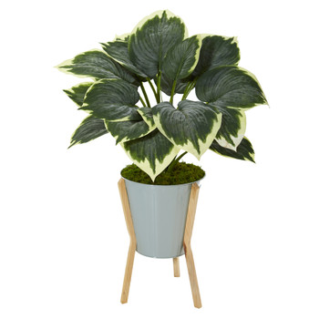 28 Variegated Hosta Artificial Plant in Green Planter with Stand - SKU #P1093