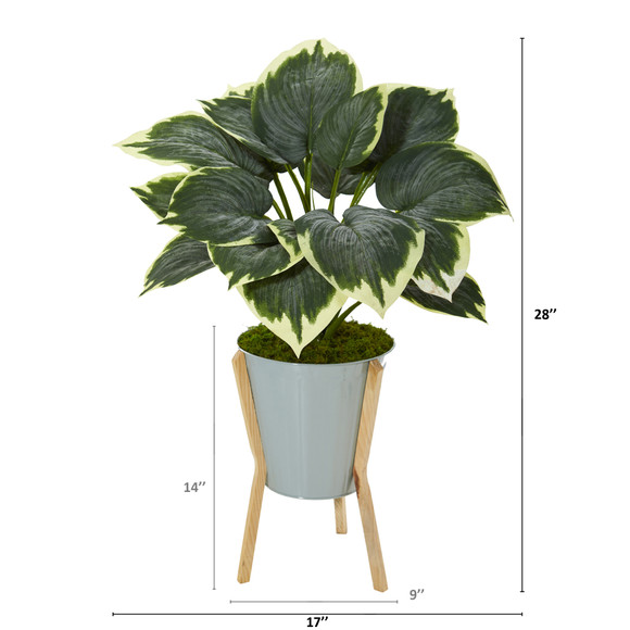 28 Variegated Hosta Artificial Plant in Green Planter with Stand - SKU #P1093 - 1