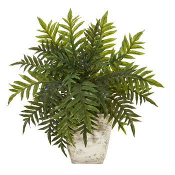 2 Hares Foot Fern Artificial Plant in Country White Planter Real Touch - SKU #P1094