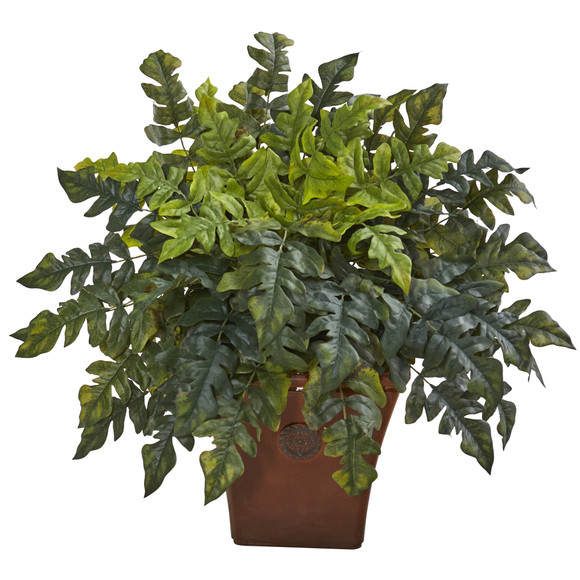 28 Holly Fern Artificial Plant in Brown Planter - SKU #P1095