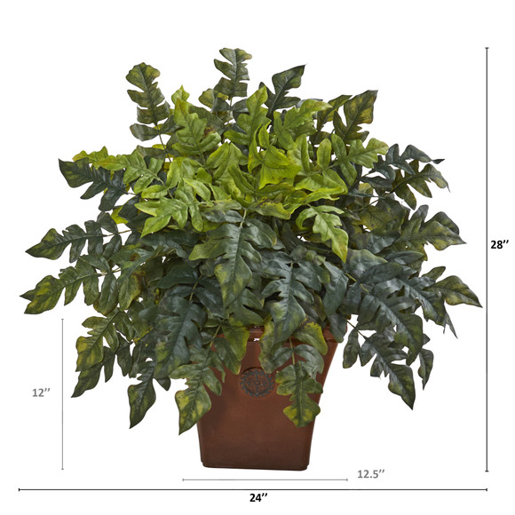28 Holly Fern Artificial Plant in Brown Planter - SKU #P1095 - 1