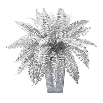16 Metallic Silver Boston Fern Artificial Plant in Embossed White Planter - SKU #P1097