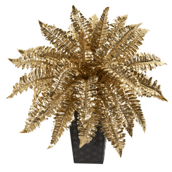 16 Golden Boston Fern Artificial Plant in Embossed Black Planter - SKU #P1098