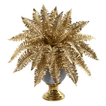 16 Golden Boston Fern Artificial Plant in Stoneware Urn with Gold Trimming - SKU #P1100