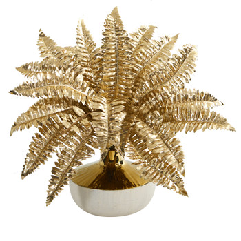 13 Golden Boston Fern Artificial Plant in Gold and Cream Elegant Vase - SKU #P1101