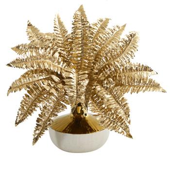 13 Golden Boston Fern Artificial Plant in Gold and Cream Elegant Vase - SKU #P1101