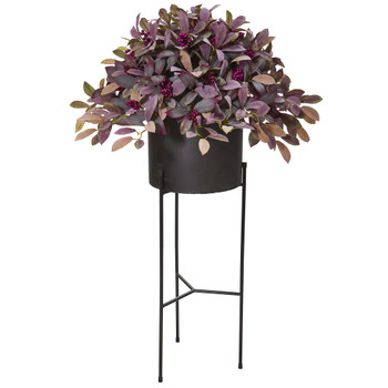49 Fall Laurel Leaf with Berries Artificial Plant in Black Planter with Stand - SKU #P1102