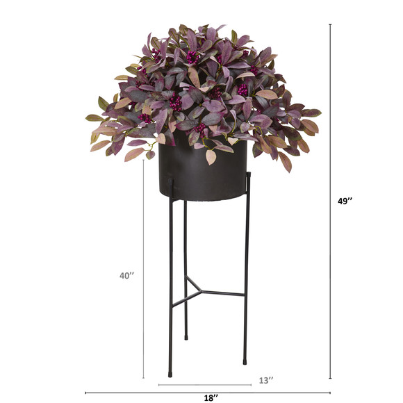 49 Fall Laurel Leaf with Berries Artificial Plant in Black Planter with Stand - SKU #P1102 - 1