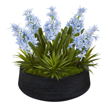 14 Hyacinth and Succulent Artificial Plant in Decorative Bowl - SKU #P1103