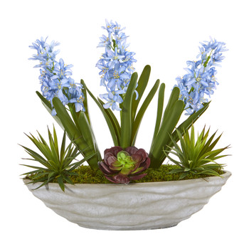 15 Hyacinth and Succulent Artificial Plant in Decorative Planter - SKU #P1104