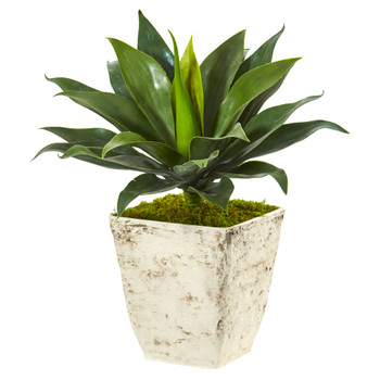 26 Large Agave Artificial Plant in Country White Planter - SKU #P1105