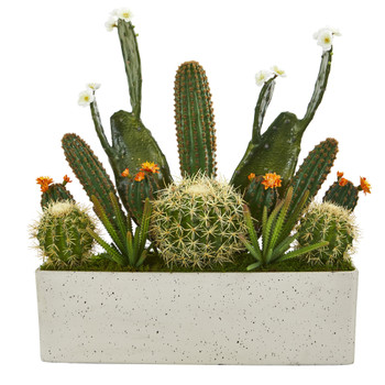 26 Succulent Garden Artificial Plant in White Planter - SKU #P1106