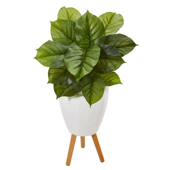 37 Large Philodendron Artificial Plant in White Planter with Stand Real Touch - SKU #P1109