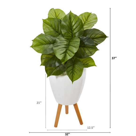 37 Large Philodendron Artificial Plant in White Planter with Stand Real Touch - SKU #P1109 - 1