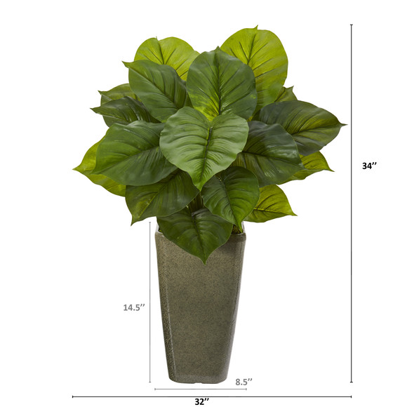 34 Large Philodendron Artificial Plant in Green Planter Real Touch - SKU #P1110 - 1