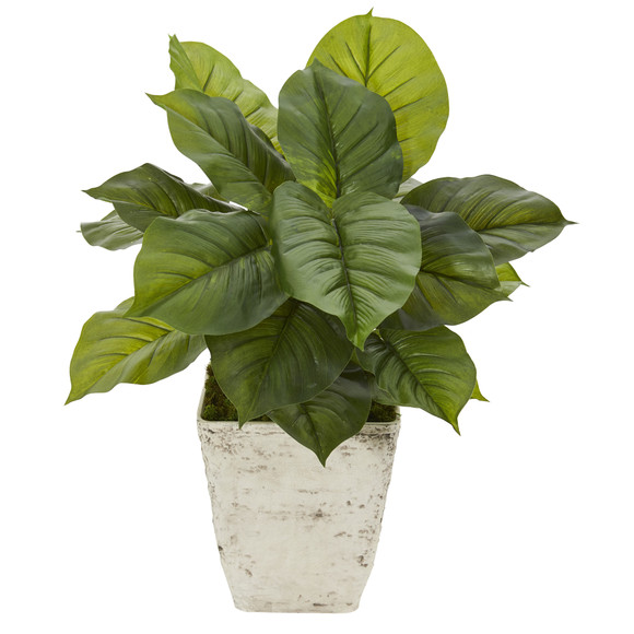 30 Large Philodendron Artificial Plant in Country White Planter Real Touch - SKU #P1111