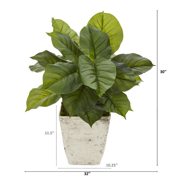 30 Large Philodendron Artificial Plant in Country White Planter Real Touch - SKU #P1111 - 1