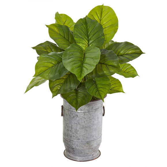 32 Large Philodendron Artificial Plant in Vintage Metal Planter Real Touch - SKU #P1112