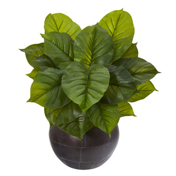 26 Large Philodendron Artificial Plant in Metal Bowl Real Touch - SKU #P1114
