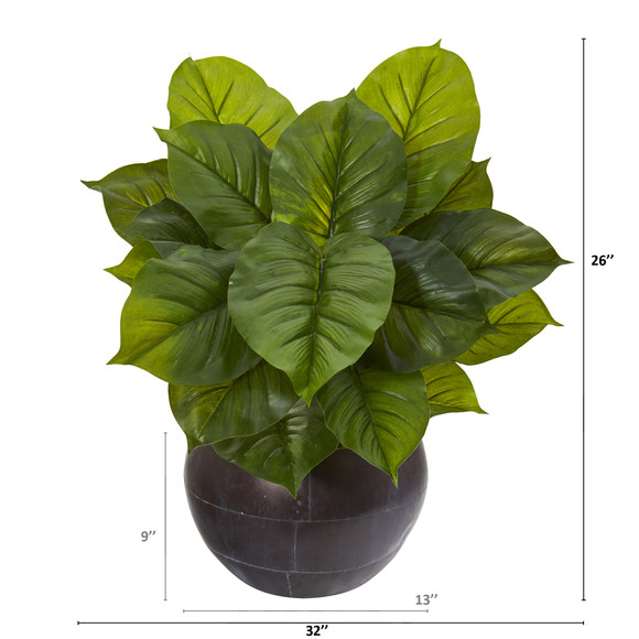 26 Large Philodendron Artificial Plant in Metal Bowl Real Touch - SKU #P1114 - 1