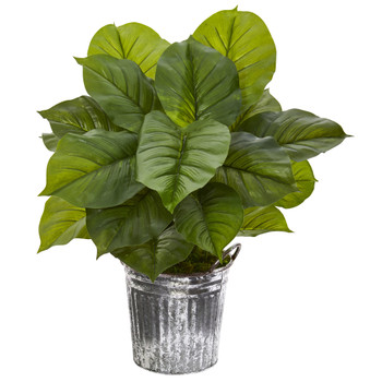 26 Large Philodendron Artificial Plant in Vintage Metal Pail Real Touch - SKU #P1115