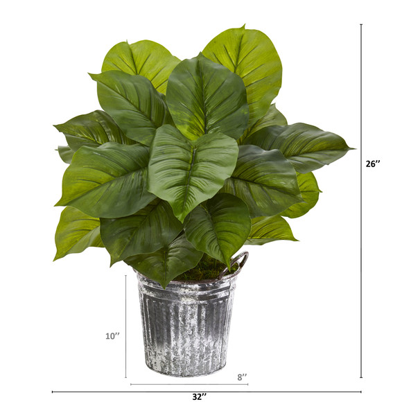 26 Large Philodendron Artificial Plant in Vintage Metal Pail Real Touch - SKU #P1115 - 1
