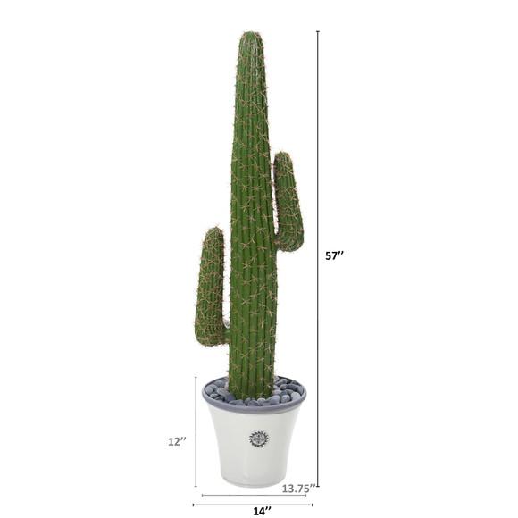 57 Cactus Artificial Plant in Decorative Planter - SKU #P1120 - 1