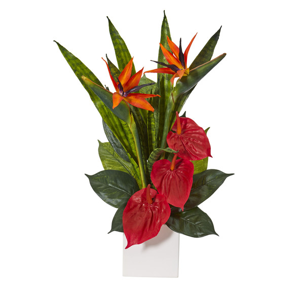 22 Bird of Paradise Anthurium and Sansevieria Artificial Plant in White Planter - SKU #P1123