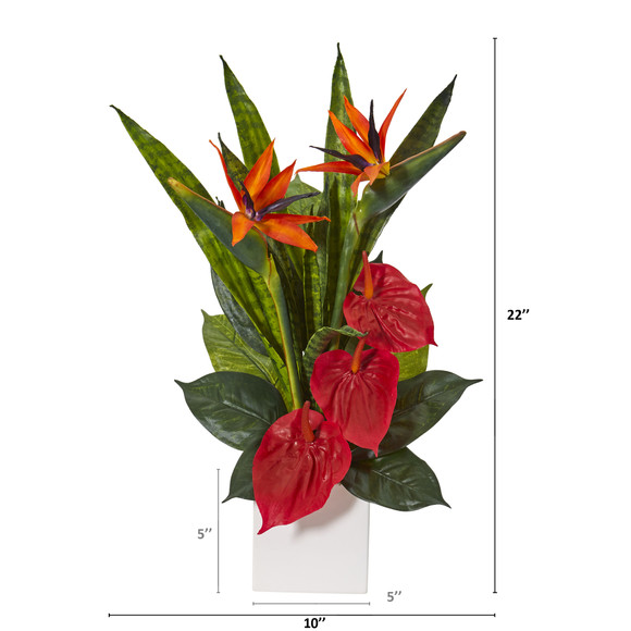 22 Bird of Paradise Anthurium and Sansevieria Artificial Plant in White Planter - SKU #P1123 - 1