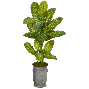 49 Dieffenbachia Artificial Plant in Vintage Metal Planter Real Touch - SKU #P1124