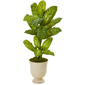52 Dieffenbachia Artificial Plant in White Urn Real Touch - SKU #P1125