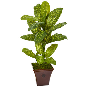 4 Dieffenbachia Artificial Plant in Brandy Planter Real Touch - SKU #P1126