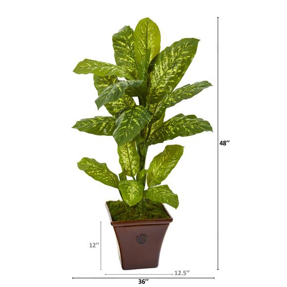4 Dieffenbachia Artificial Plant in Brandy Planter Real Touch - SKU #P1126 - 1