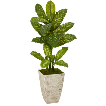 51 Dieffenbachia Artificial Plant in Stone Washed Planter Real Touch - SKU #P1128