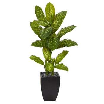 50 Dieffenbachia Artificial Plant in Black Planter Real Touch - SKU #P1129