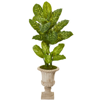 55 Dieffenbachia Artificial Plant in Sand Finished Urn Real Touch - SKU #P1130