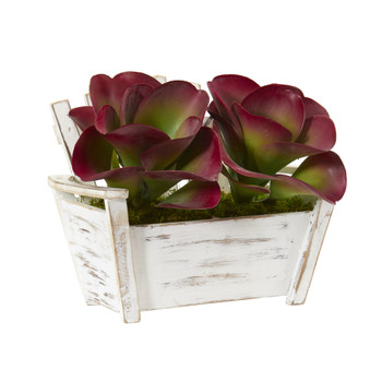 13 Succulent Artificial Plant in Wooden Bench Planter - SKU #P1134
