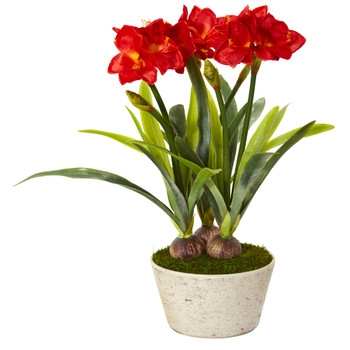 32 Amaryllis Artificial Plant in White Planter - SKU #P1138