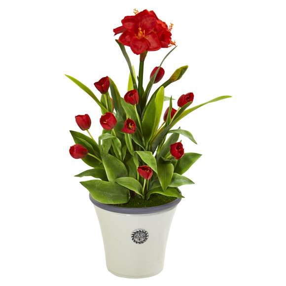 39 Amaryllis and Tulip Artificial Plant in Decorative Planter - SKU #P1139