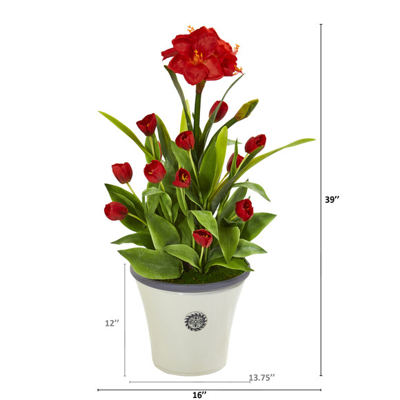 39 Amaryllis and Tulip Artificial Plant in Decorative Planter - SKU #P1139 - 1