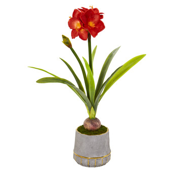 32 Amaryllis Artificial Plant in Planter with Gold Trimming - SKU #P1140