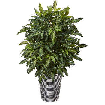 32 Bracken Fern Artificial Plant in Decorative Tin Planter - SKU #P1141