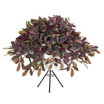 30 Fall Laurel Leaf with Berries Artificial Plant in White Planter with Metal Stand - SKU #P1142
