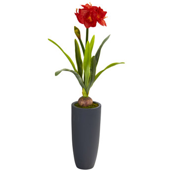 3.5 Amaryllis Artificial Plant in Gray Planter - SKU #P1143