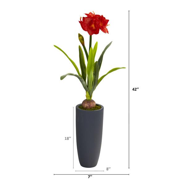 3.5 Amaryllis Artificial Plant in Gray Planter - SKU #P1143 - 1